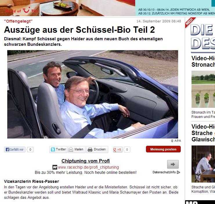 """Das berühmte Bild """"Haider-Schüssel-im-Porsche"""" in oe24.at """"Auszüge aus der Schüssel-Bio Teil 2"""""""